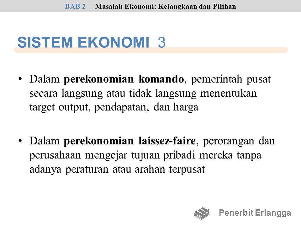 SISTEM EKONOMI 3 • Dalam perekonomian komando, pemerintah pusat secara langsung atau tidak langsung menentukan target output, pendapatan, dan harga •