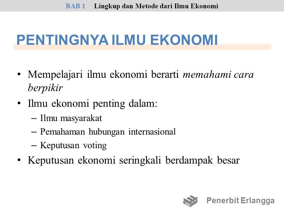 PENTINGNYA ILMU EKONOMI • Mempelajari ilmu ekonomi berarti memahami cara berpikir • Ilmu ekonomi penting dalam: – Ilmu masyarakat – Pemahaman hubungan