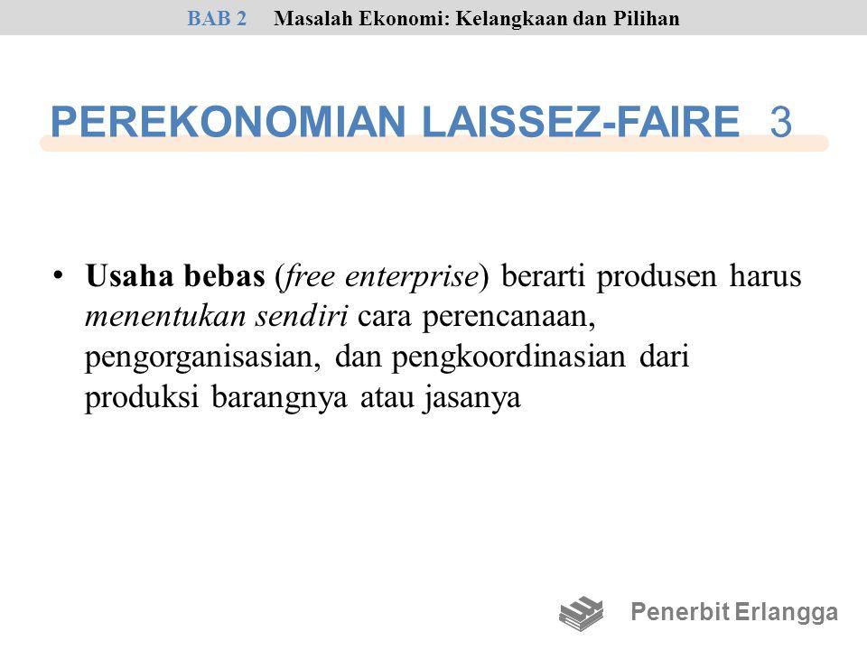 PEREKONOMIAN LAISSEZ-FAIRE 3 • Usaha bebas (free enterprise) berarti produsen harus menentukan sendiri cara perencanaan, pengorganisasian, dan pengkoo