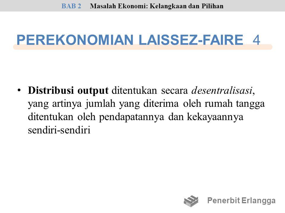 PEREKONOMIAN LAISSEZ-FAIRE 4 • Distribusi output ditentukan secara desentralisasi, yang artinya jumlah yang diterima oleh rumah tangga ditentukan oleh