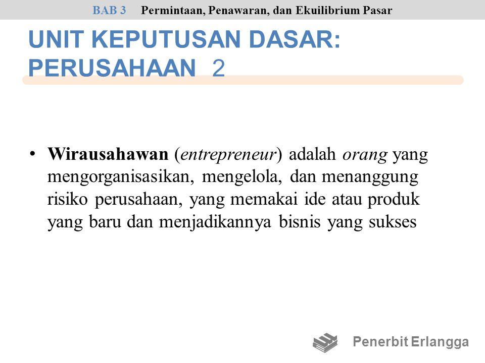 UNIT KEPUTUSAN DASAR: PERUSAHAAN 2 • Wirausahawan (entrepreneur) adalah orang yang mengorganisasikan, mengelola, dan menanggung risiko perusahaan, yan