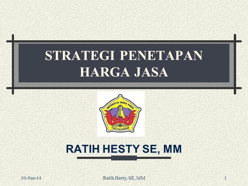 STRATEGI PENETAPAN HARGA JASA RATIH HESTY SE, MM 30-Jun-14Ratih Hesty, SE, MM1