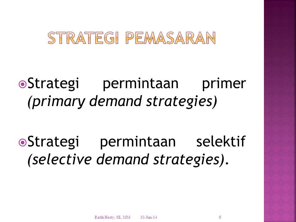  Strategi permintaan primer (primary demand strategies)  Strategi permintaan selektif (selective demand strategies). 30-Jun-14 Ratih Hesty, SE, MM 6