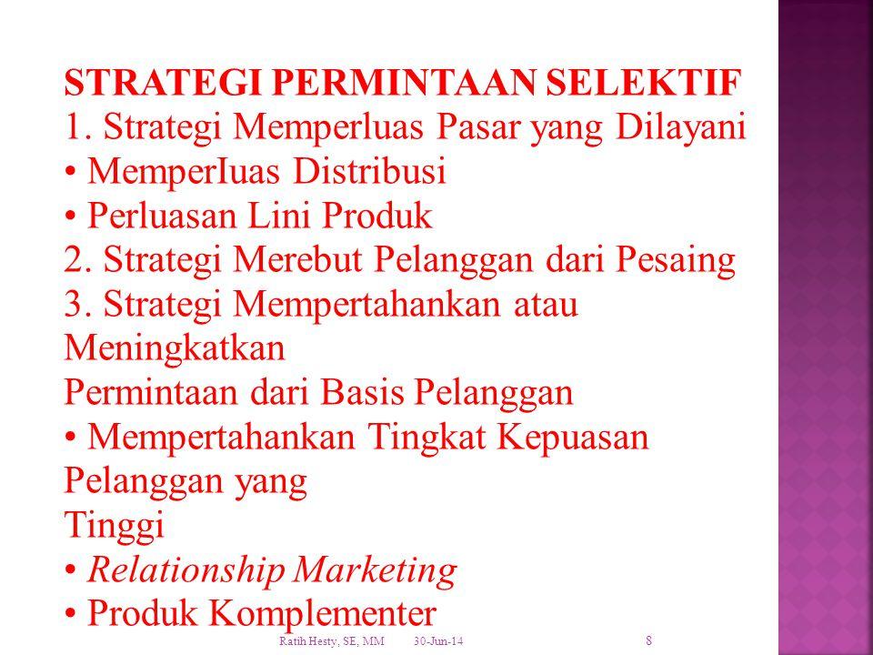 STRATEGI PERMINTAAN SELEKTIF 1. Strategi Memperluas Pasar yang Dilayani • MemperIuas Distribusi • Perluasan Lini Produk 2. Strategi Merebut Pelanggan