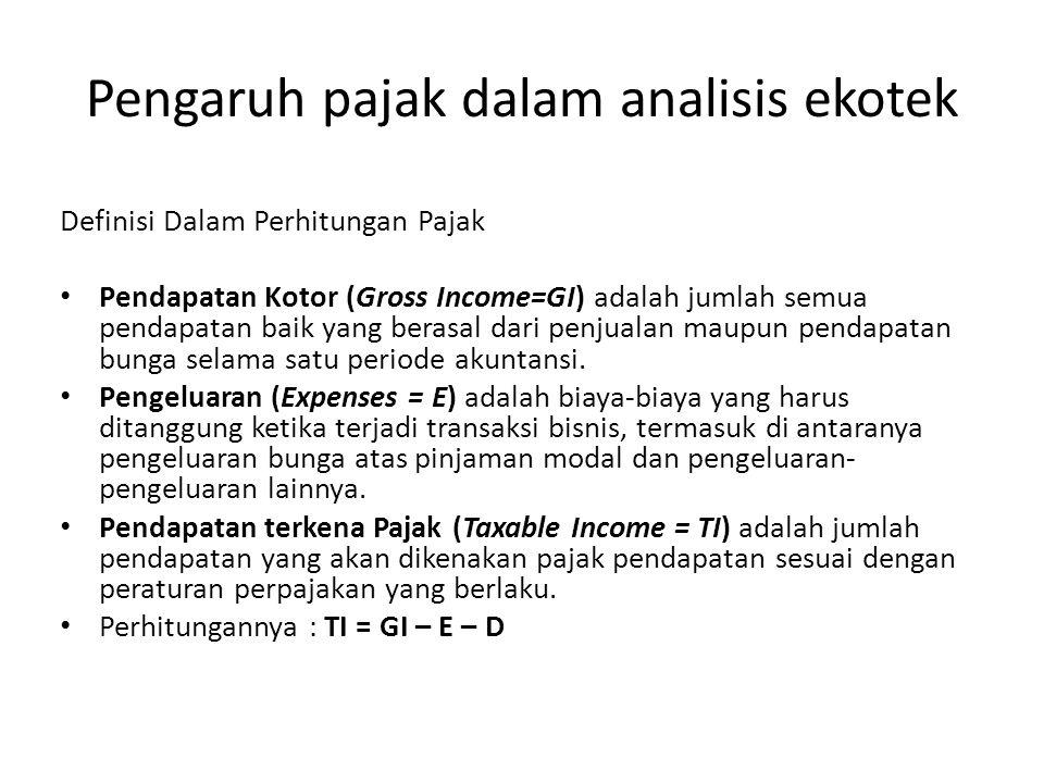 Pengaruh pajak dalam analisis ekotek Definisi Dalam Perhitungan Pajak • Pendapatan Kotor (Gross Income=GI) adalah jumlah semua pendapatan baik yang be