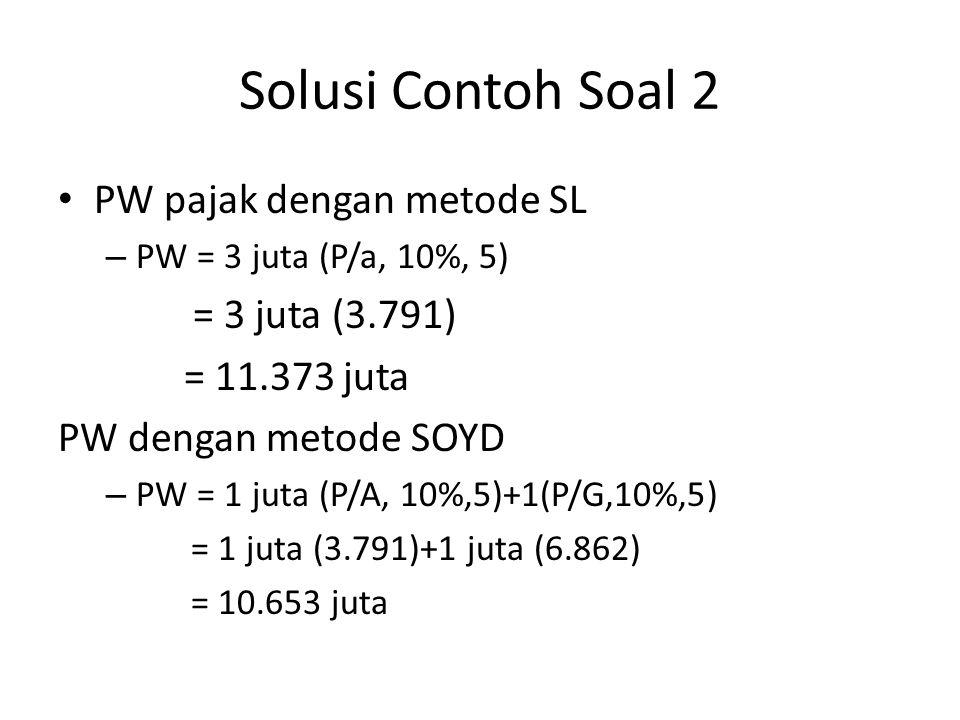 Solusi Contoh Soal 2 • PW pajak dengan metode SL – PW = 3 juta (P/a, 10%, 5) = 3 juta (3.791) = 11.373 juta PW dengan metode SOYD – PW = 1 juta (P/A,