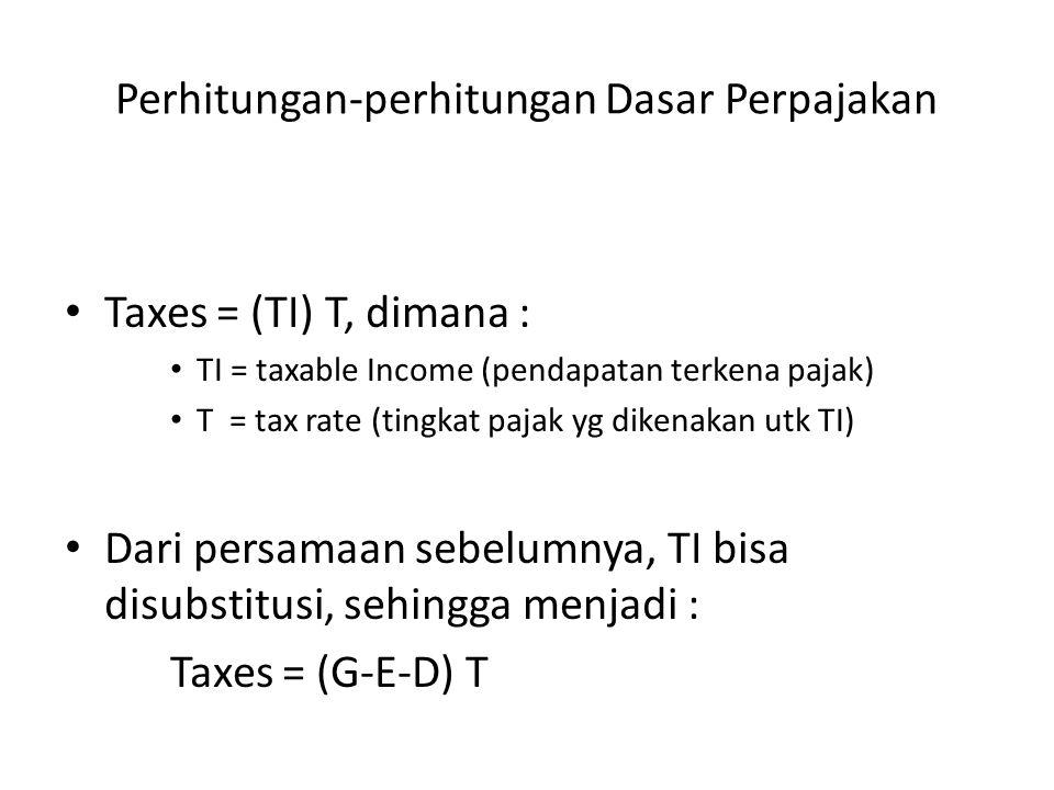 Perhitungan-perhitungan Dasar Perpajakan • Taxes = (TI) T, dimana : • TI = taxable Income (pendapatan terkena pajak) • T = tax rate (tingkat pajak yg