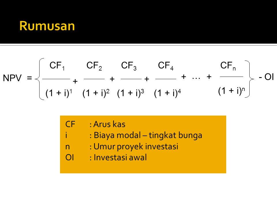 CF: Arus kas i: Biaya modal – tingkat bunga n: Umur proyek investasi OI: Investasi awal NPV = CF 1 + CF 2 CF 3 CF 4 + ++ + (1 + i) 1 (1 + i) 2 (1 + i)