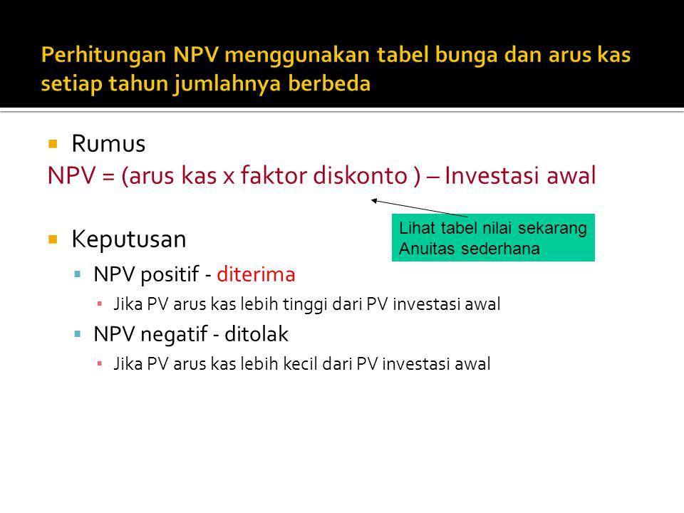  Rumus NPV = (arus kas x faktor diskonto ) – Investasi awal  Keputusan  NPV positif - diterima ▪ Jika PV arus kas lebih tinggi dari PV investasi aw