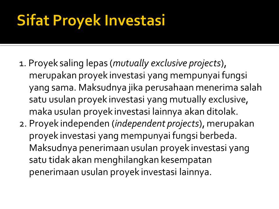 1. Proyek saling lepas (mutually exclusive projects), merupakan proyek investasi yang mempunyai fungsi yang sama. Maksudnya jika perusahaan menerima s