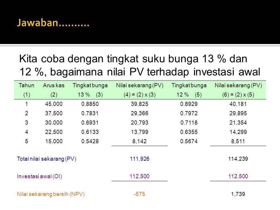 TahunArus kasTingkat bungaNilai sekarang (PV)Tingkat bungaNilai sekarang (PV) (1)(2)13 % (3)(4) = (2) x (3)12 % (5)(6) = (2) x (5) 145,0000.885039,825