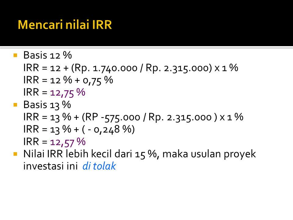  Basis 12 % IRR = 12 + (Rp. 1.740.000 / Rp. 2.315.000) x 1 % IRR = 12 % + 0,75 % IRR = 12,75 %  Basis 13 % IRR = 13 % + (RP -575.000 / Rp. 2.315.000
