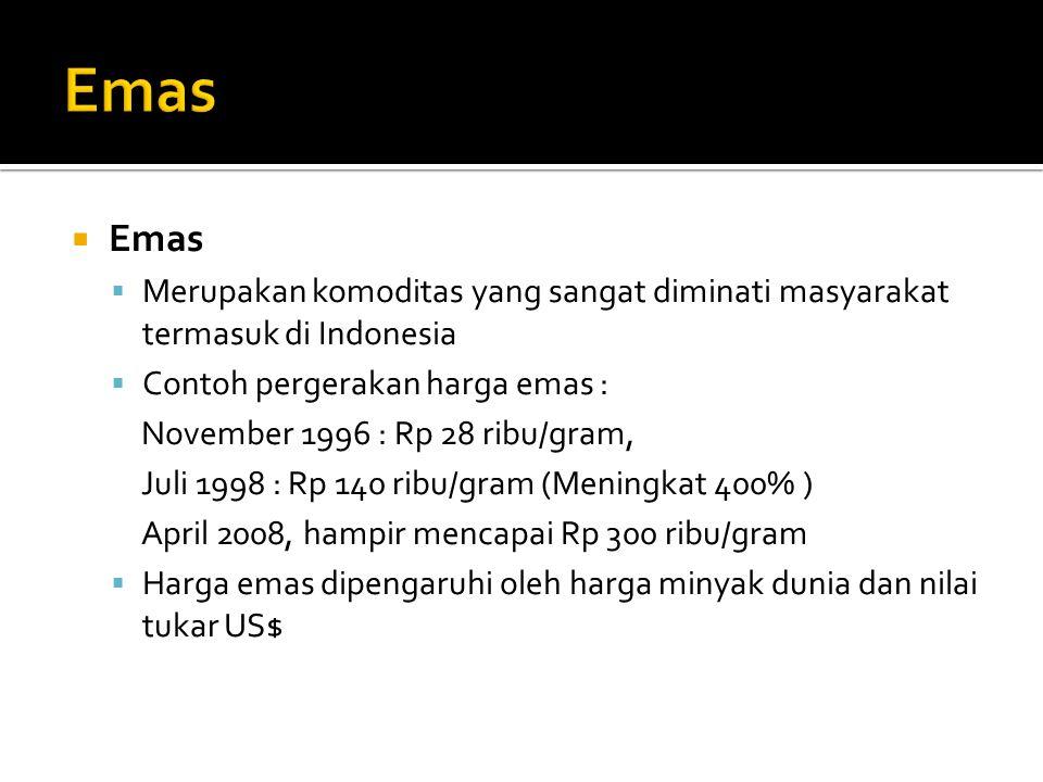  Emas  Merupakan komoditas yang sangat diminati masyarakat termasuk di Indonesia  Contoh pergerakan harga emas : November 1996 : Rp 28 ribu/gram, J