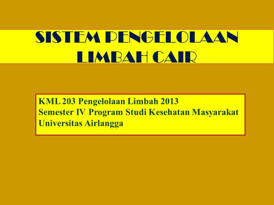 SISTEM PENGELOLAAN LIMBAH CAIR KML 203 Pengelolaan Limbah 2013 Semester IV Program Studi Kesehatan Masyarakat Universitas Airlangga