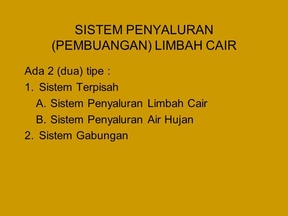 SISTEM PENYALURAN (PEMBUANGAN) LIMBAH CAIR Ada 2 (dua) tipe : 1.Sistem Terpisah A.Sistem Penyaluran Limbah Cair B.Sistem Penyaluran Air Hujan 2.Sistem Gabungan