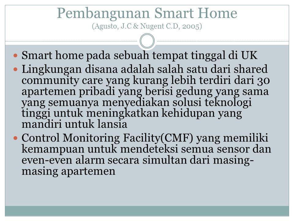 Pembangunan Smart Home (Agusto, J.C & Nugent C.D, 2005)  Smart home pada sebuah tempat tinggal di UK  Lingkungan disana adalah salah satu dari share