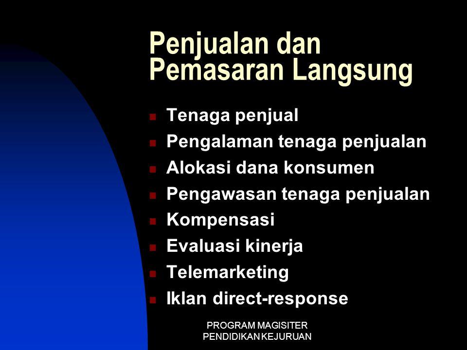 PROGRAM MAGISITER PENDIDIKAN KEJURUAN Penjualan dan Pemasaran Langsung  Tenaga penjual  Pengalaman tenaga penjualan  Alokasi dana konsumen  Pengaw