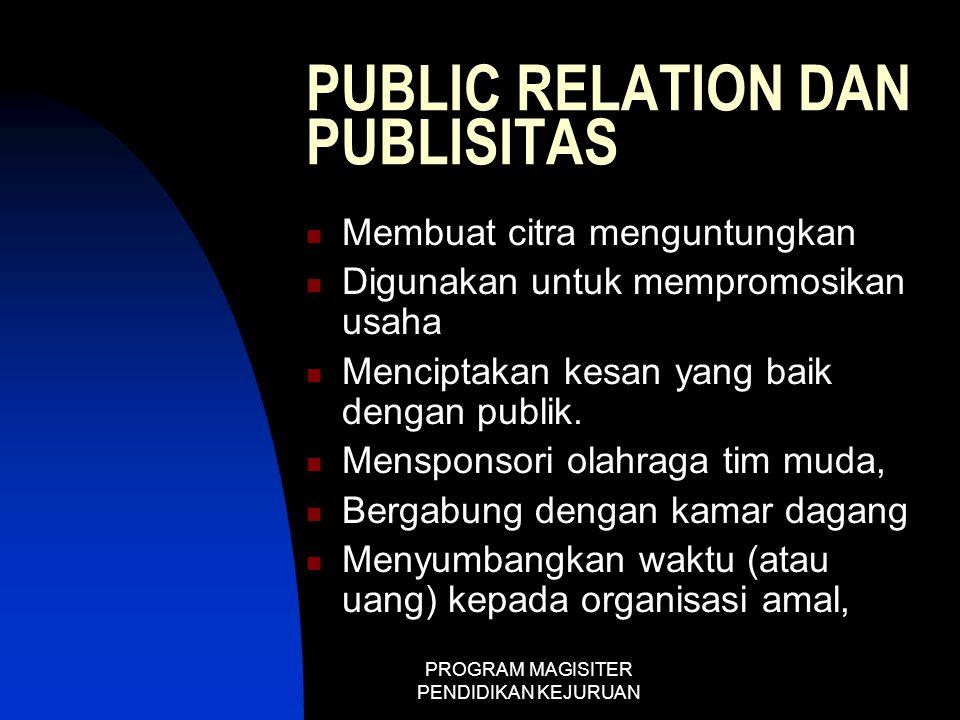 PROGRAM MAGISITER PENDIDIKAN KEJURUAN PUBLIC RELATION DAN PUBLISITAS  Membuat citra menguntungkan  Digunakan untuk mempromosikan usaha  Menciptakan