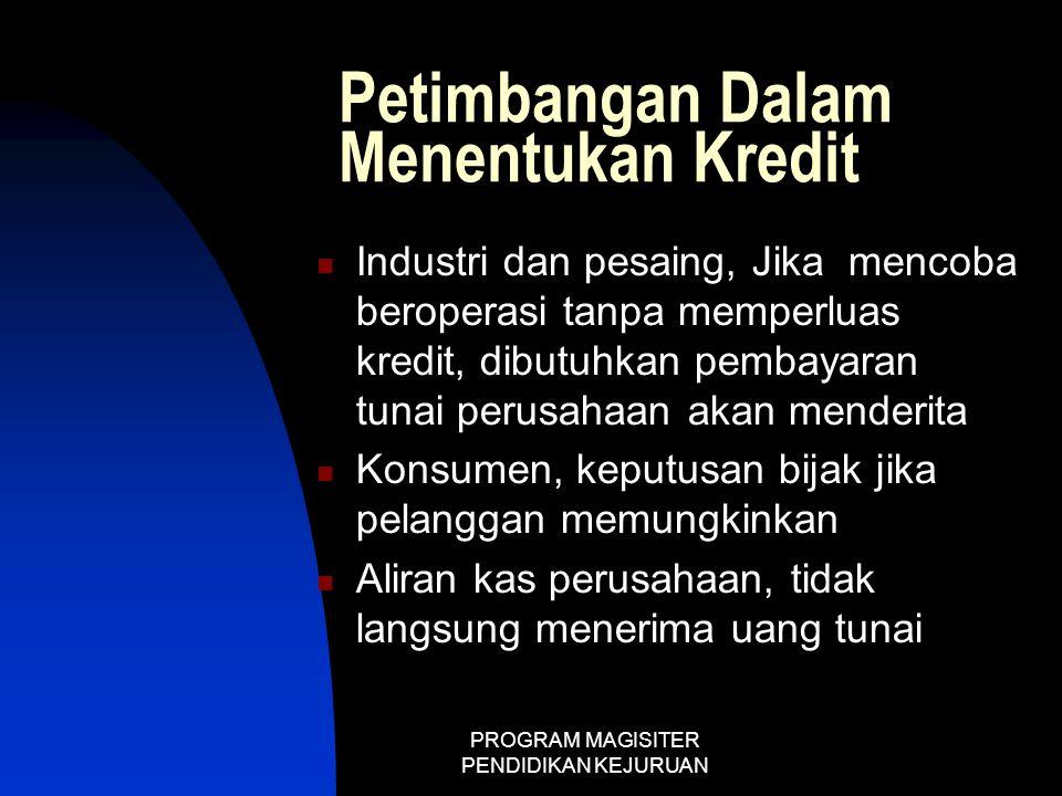PROGRAM MAGISITER PENDIDIKAN KEJURUAN Petimbangan Dalam Menentukan Kredit  Industri dan pesaing, Jika mencoba beroperasi tanpa memperluas kredit, dib