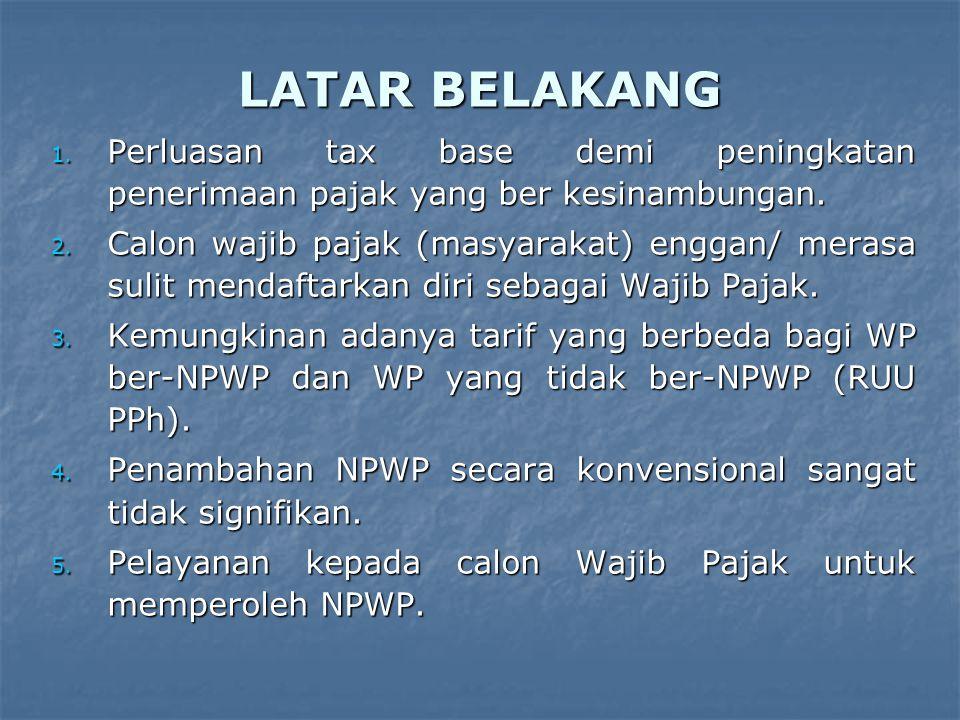 LATAR BELAKANG 1.Perluasan tax base demi peningkatan penerimaan pajak yang ber kesinambungan.