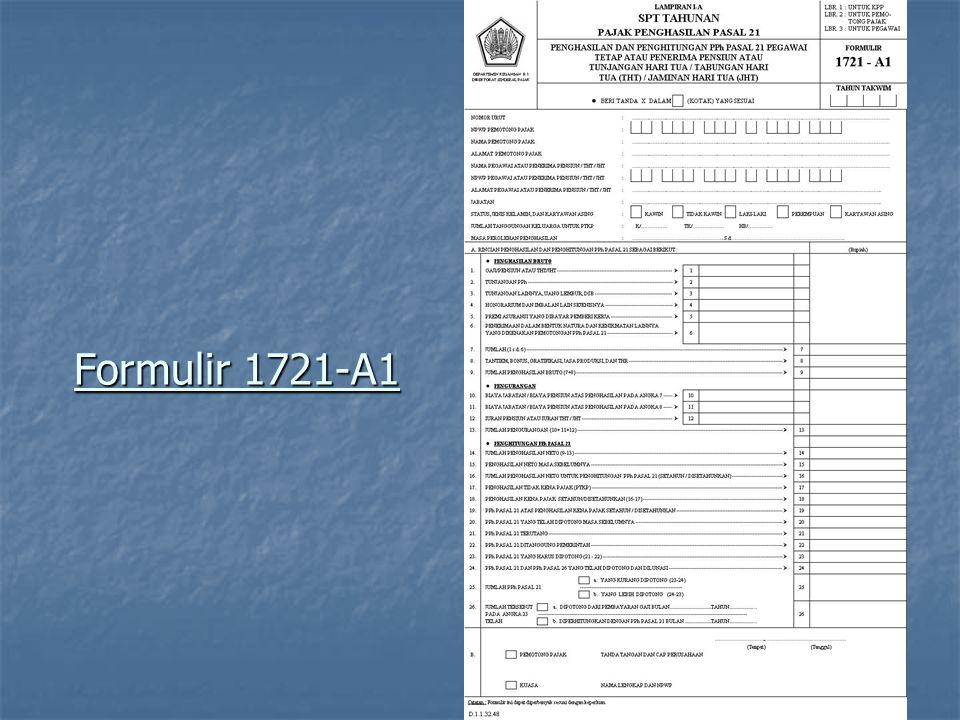 HAK WAJIB PAJAK KARYAWAN (dari Pemberi Kerja/Bendaharawan) Memperoleh bukti penghasilan selama satu tahun beserta pajak yang telah dipotong oleh Pemberi Kerja / Bendaharawan berupa Formulir 1721-A1 ( LAMPIRAN SPT TAHUNAN PAJAK PENGHASILAN PASAL 21 ) ( LAMPIRAN SPT TAHUNAN PAJAK PENGHASILAN PASAL 21 ) PENGHASILAN DAN PENGHITUNGAN PPh PASAL 21 PEGAWAI TETAP ATAU PENERIMA PENSIUN ATAU TUNJANGAN HARI TUA / TABUNGAN HARI TUA (THT) / JAMINAN HARI TUA (JHT)