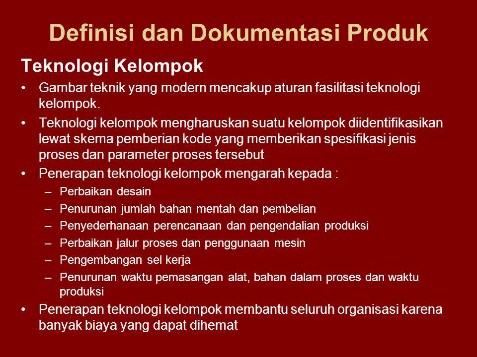 Definisi dan Dokumentasi Produk Teknologi Kelompok •Gambar teknik yang modern mencakup aturan fasilitasi teknologi kelompok. •Teknologi kelompok mengh