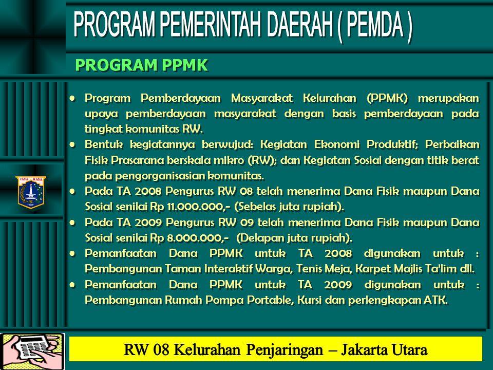 PROGRAM PPMK •Program Pemberdayaan Masyarakat Kelurahan (PPMK) merupakan upaya pemberdayaan masyarakat dengan basis pemberdayaan pada tingkat komunita