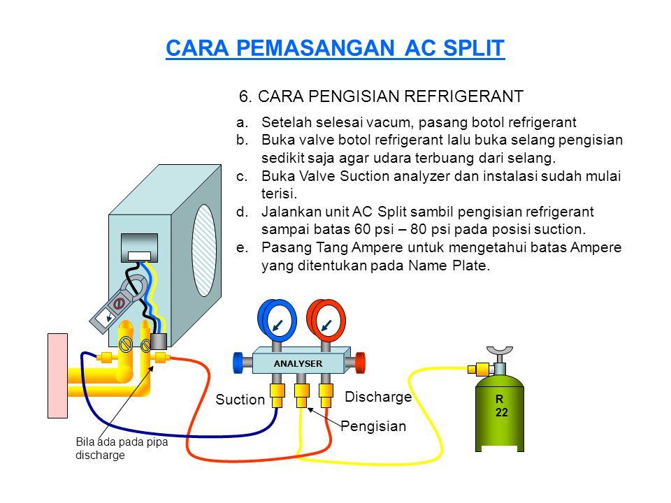 CARA PEMASANGAN AC SPLIT R 22 ANALYSER Suction Discharge 6. CARA PENGISIAN REFRIGERANT a.Setelah selesai vacum, pasang botol refrigerant b.Buka valve