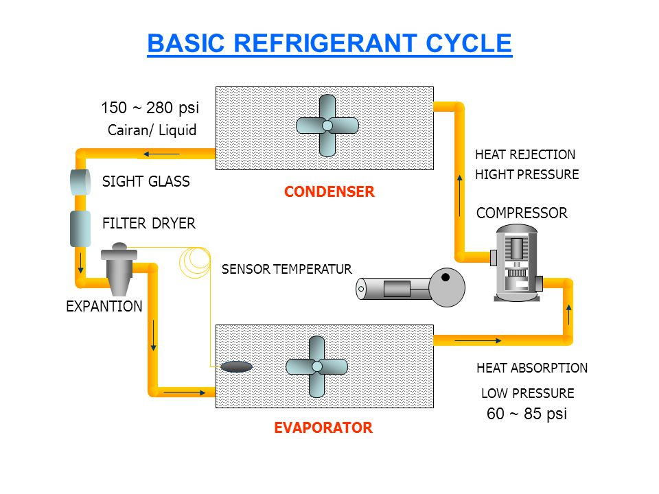 BASIC REFRIGERANT CYCLE EVAPORATOR CONDENSER SIGHT GLASS FILTER DRYER EXPANTION COMPRESSOR HEAT REJECTION HEAT ABSORPTION LOW PRESSURE HIGHT PRESSURE