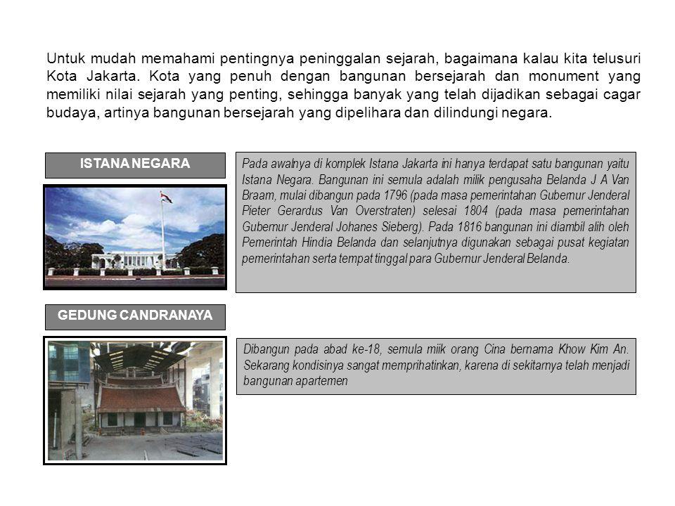 Untuk mudah memahami pentingnya peninggalan sejarah, bagaimana kalau kita telusuri Kota Jakarta. Kota yang penuh dengan bangunan bersejarah dan monume