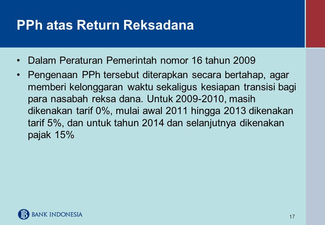 17 PPh atas Return Reksadana •Dalam Peraturan Pemerintah nomor 16 tahun 2009 •Pengenaan PPh tersebut diterapkan secara bertahap, agar memberi kelongga