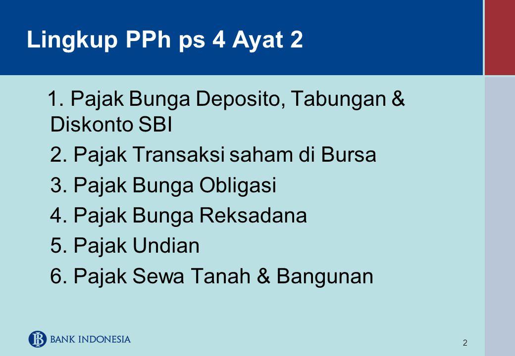 2 Lingkup PPh ps 4 Ayat 2 1. Pajak Bunga Deposito, Tabungan & Diskonto SBI 2. Pajak Transaksi saham di Bursa 3. Pajak Bunga Obligasi 4. Pajak Bunga Re