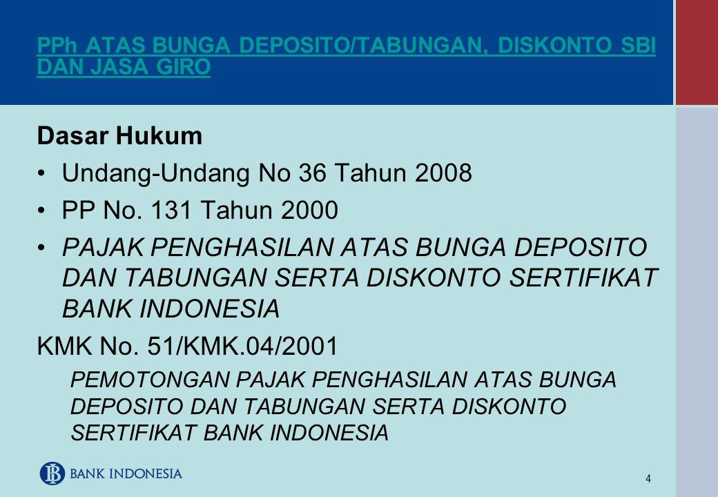 4 PPh ATAS BUNGA DEPOSITO/TABUNGAN, DISKONTO SBI DAN JASA GIRO Dasar Hukum •Undang-Undang No 36 Tahun 2008 •PP No. 131 Tahun 2000 •PAJAK PENGHASILAN A