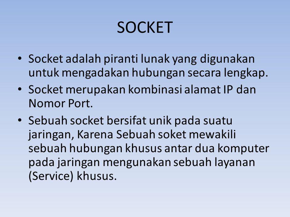 SOCKET • Socket adalah piranti lunak yang digunakan untuk mengadakan hubungan secara lengkap. • Socket merupakan kombinasi alamat IP dan Nomor Port. •