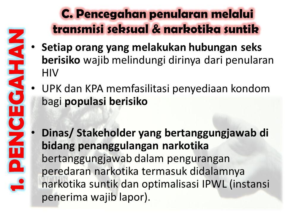 • Setiap orang yang melakukan hubungan seks berisiko wajib melindungi dirinya dari penularan HIV • UPK dan KPA memfasilitasi penyediaan kondom bagi po