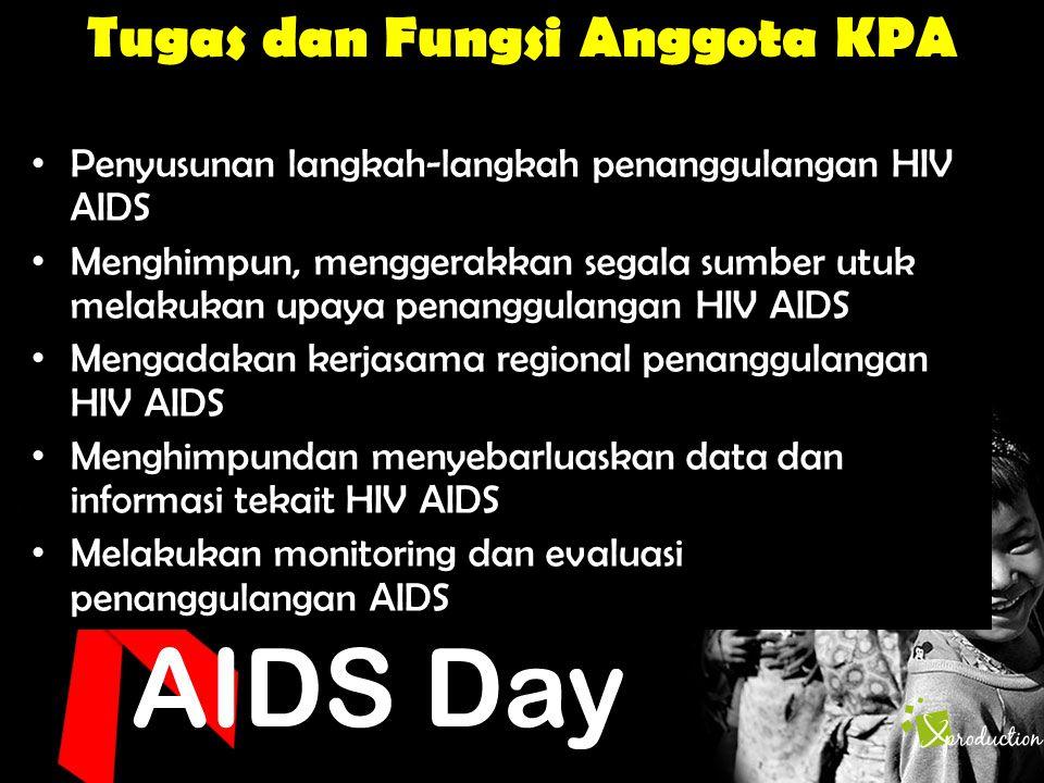 Tugas dan Fungsi Anggota KPA • Penyusunan langkah-langkah penanggulangan HIV AIDS • Menghimpun, menggerakkan segala sumber utuk melakukan upaya penang