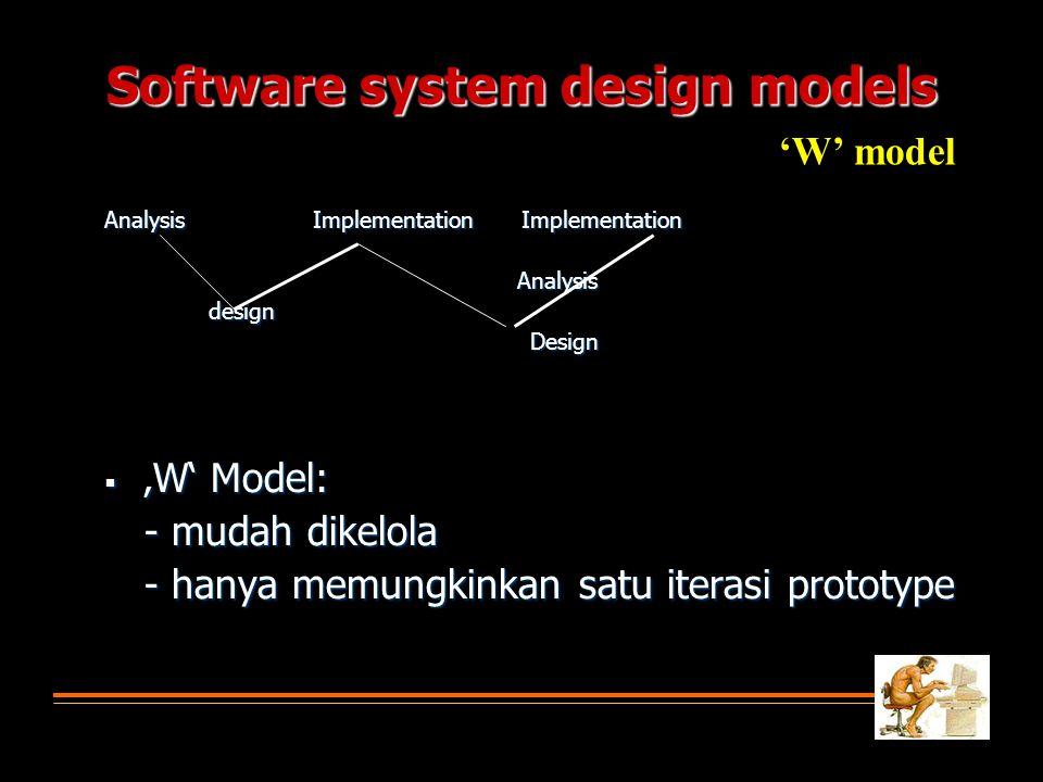 Software system design models AnalysisImplementationImplementation Analysis Analysisdesign Design Design  'W' Model: - mudah dikelola - hanya memungkinkan satu iterasi prototype 'W' model