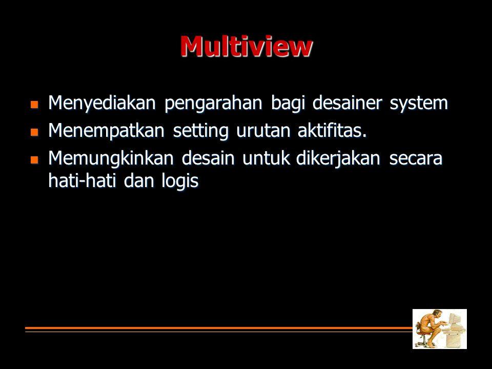 Multiview  Menyediakan pengarahan bagi desainer system  Menempatkan setting urutan aktifitas.
