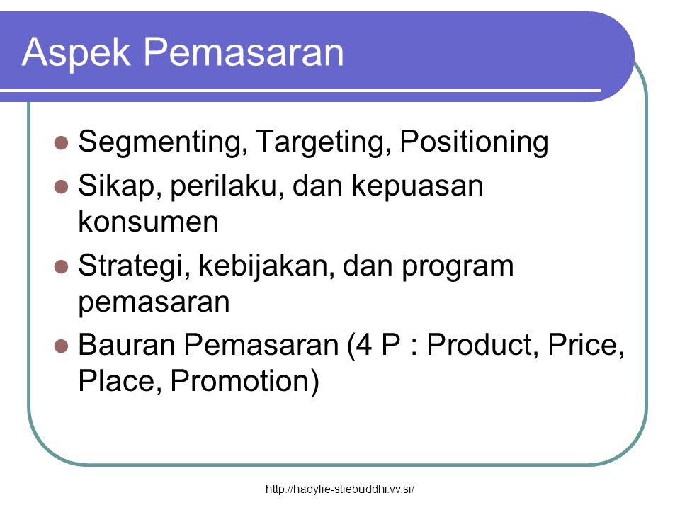Aspek Pemasaran  Segmenting, Targeting, Positioning  Sikap, perilaku, dan kepuasan konsumen  Strategi, kebijakan, dan program pemasaran  Bauran Pe