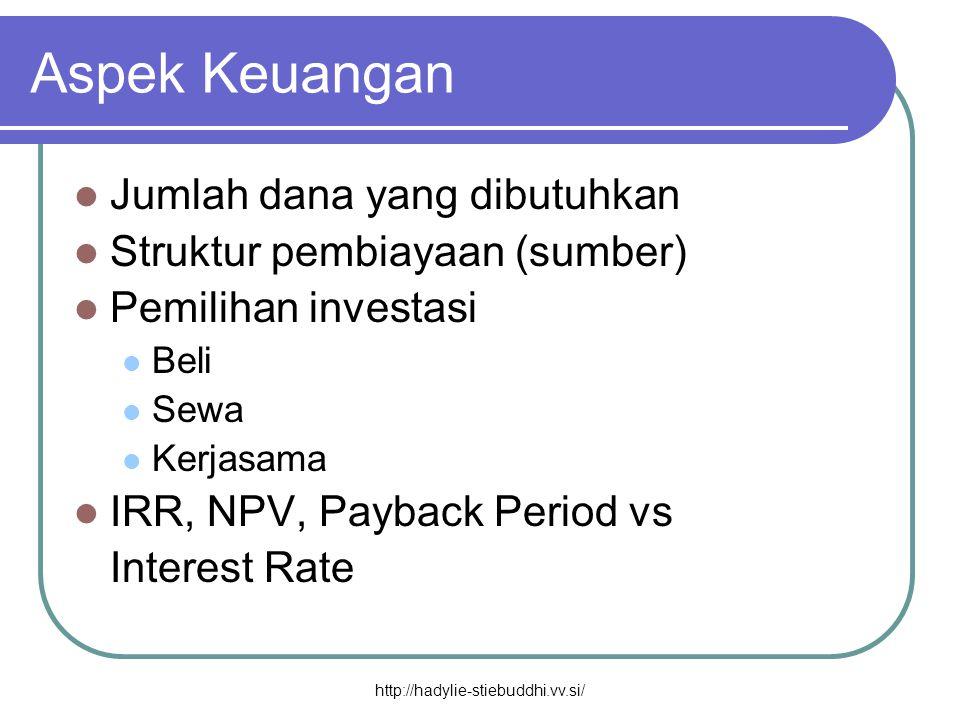 Aspek Keuangan  Jumlah dana yang dibutuhkan  Struktur pembiayaan (sumber)  Pemilihan investasi  Beli  Sewa  Kerjasama  IRR, NPV, Payback Period