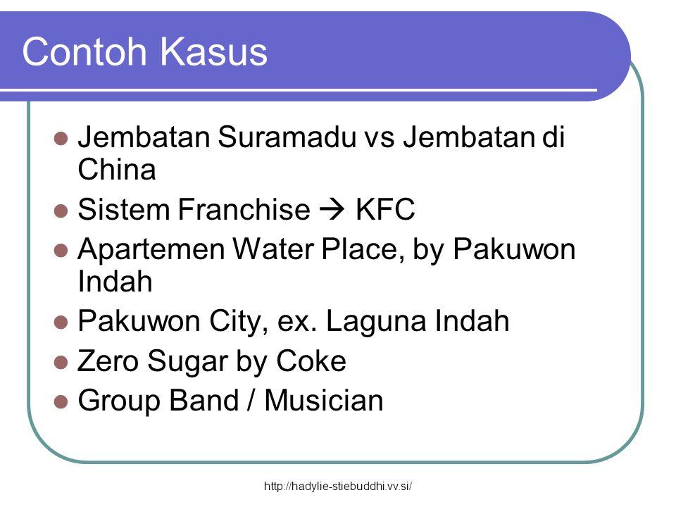 Contoh Kasus  Jembatan Suramadu vs Jembatan di China  Sistem Franchise  KFC  Apartemen Water Place, by Pakuwon Indah  Pakuwon City, ex. Laguna In
