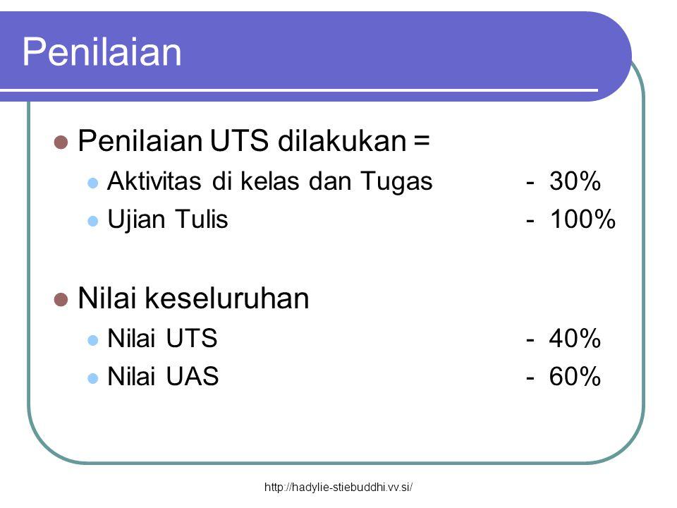 Penilaian  Penilaian UTS dilakukan =  Aktivitas di kelas dan Tugas- 30%  Ujian Tulis- 100%  Nilai keseluruhan  Nilai UTS- 40%  Nilai UAS- 60% ht