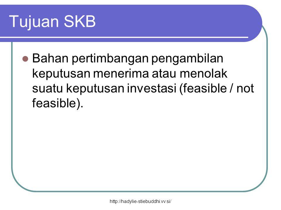 Tujuan SKB  Bahan pertimbangan pengambilan keputusan menerima atau menolak suatu keputusan investasi (feasible / not feasible). http://hadylie-stiebu