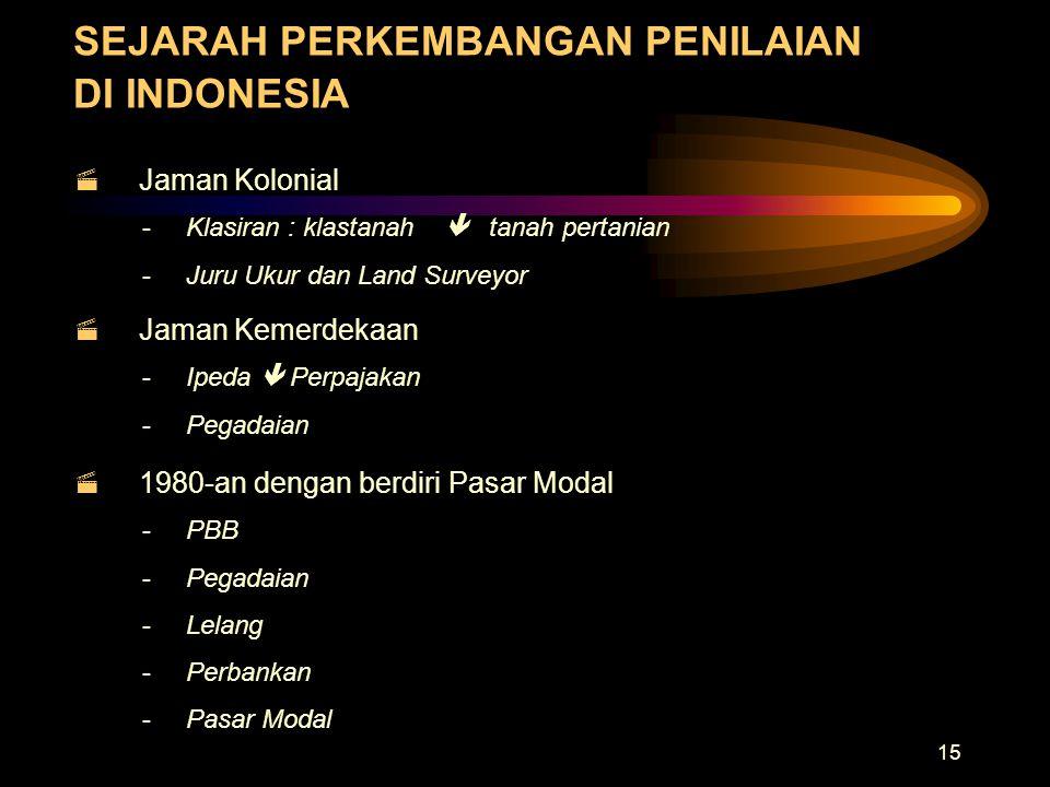 15 SEJARAH PERKEMBANGAN PENILAIAN DI INDONESIA  Jaman Kolonial -Klasiran : klastanah  tanah pertanian -Juru Ukur dan Land Surveyor  Jaman Kemerdeka