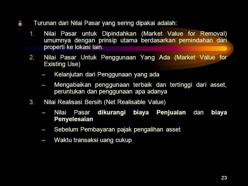 23  Turunan dari Nilai Pasar yang sering dipakai adalah: 1.Nilai Pasar untuk Dipindahkan (Market Value for Removal) umumnya dengan prinsip utama berd