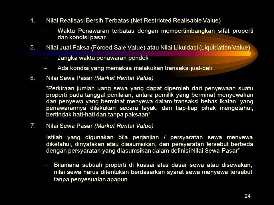24 4.Nilai Realisasi Bersih Terbatas (Net Restricted Realisable Value) –Waktu Penawaran terbatas dengan mempertimbangkan sifat properti dan kondisi pa