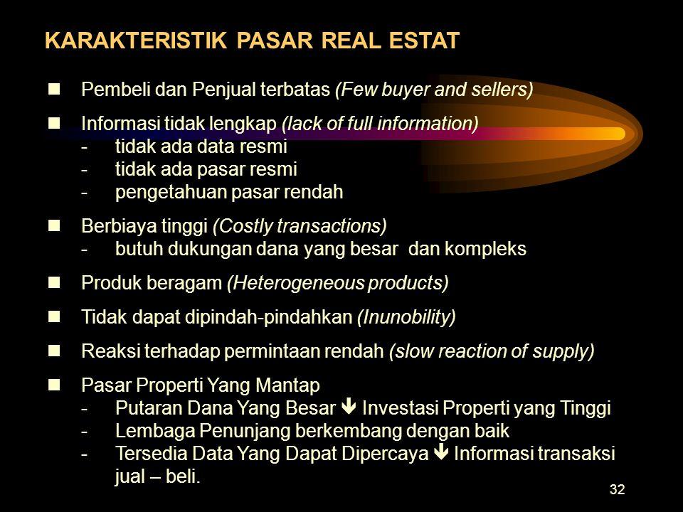 32 KARAKTERISTIK PASAR REAL ESTAT nPembeli dan Penjual terbatas (Few buyer and sellers) nInformasi tidak lengkap (lack of full information) -tidak ada