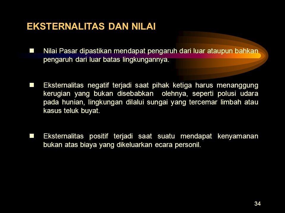 34 EKSTERNALITAS DAN NILAI nNilai Pasar dipastikan mendapat pengaruh dari luar ataupun bahkan pengaruh dari luar batas lingkungannya. nEksternalitas n