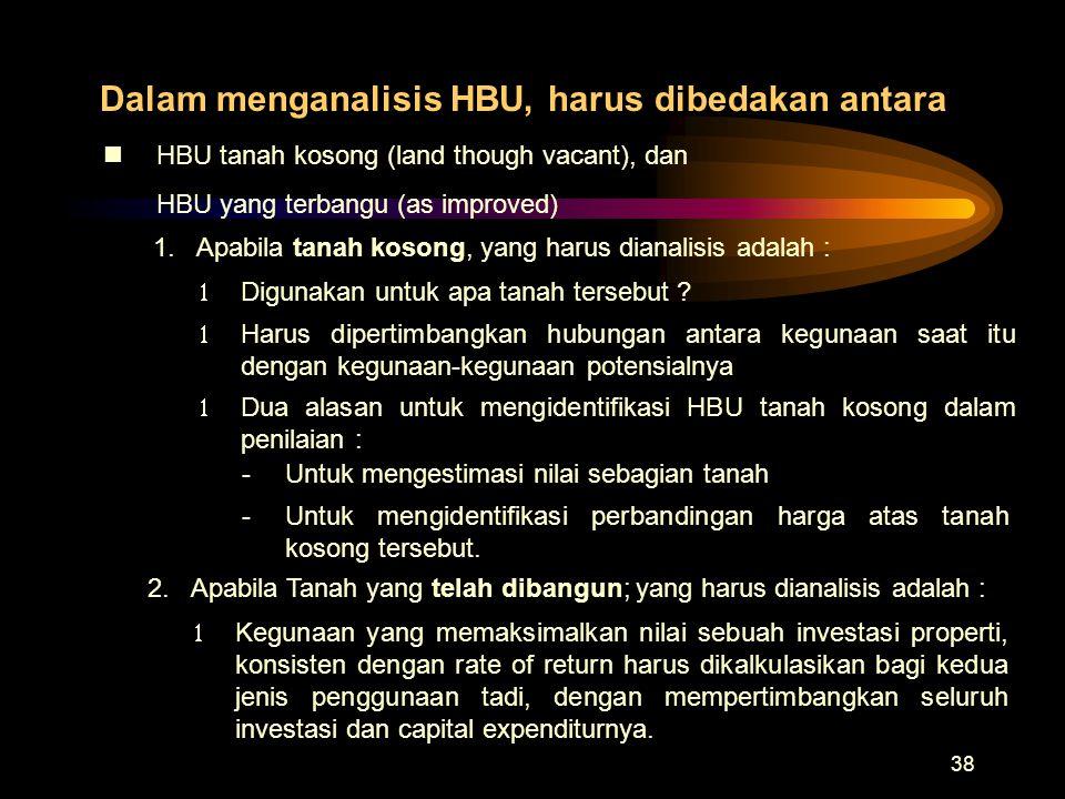 38 Dalam menganalisis HBU, harus dibedakan antara nHBU tanah kosong (land though vacant), dan HBU yang terbangu (as improved) 1.Apabila tanah kosong,