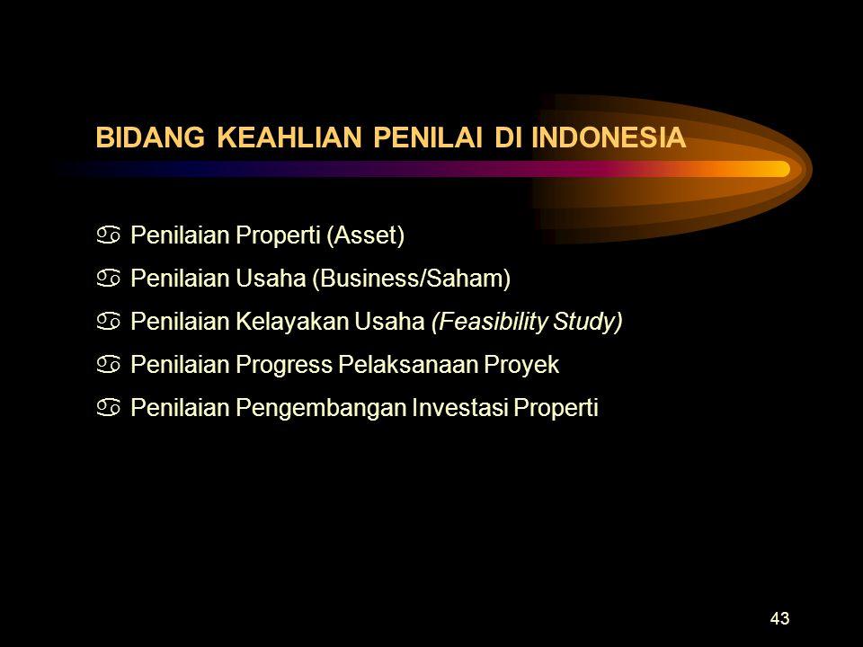43 BIDANG KEAHLIAN PENILAI DI INDONESIA aPenilaian Properti (Asset) aPenilaian Usaha (Business/Saham) aPenilaian Kelayakan Usaha (Feasibility Study) a